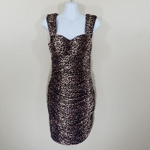 Bebe Leopard Print Sleeveless Cinched Mini Dress